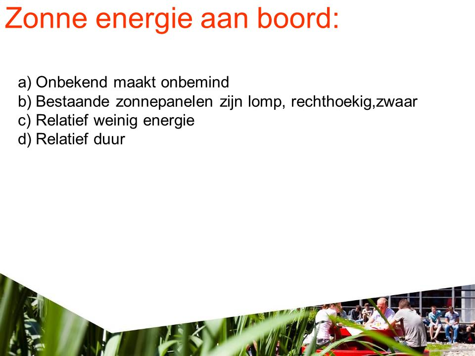 Zonne energie aan boord: