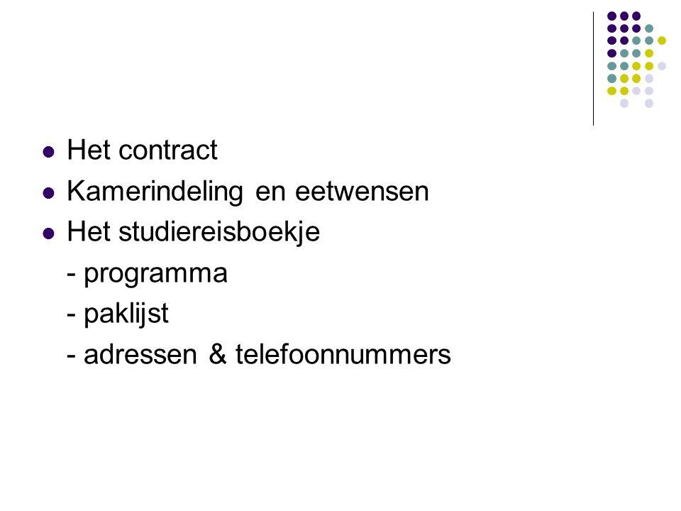 Het contract Kamerindeling en eetwensen. Het studiereisboekje.