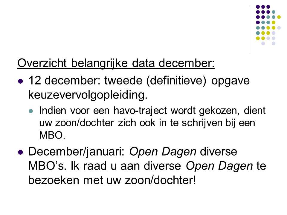 Overzicht belangrijke data december: