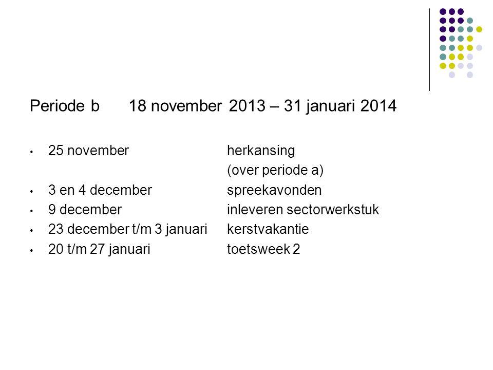Periode b 18 november 2013 – 31 januari 2014