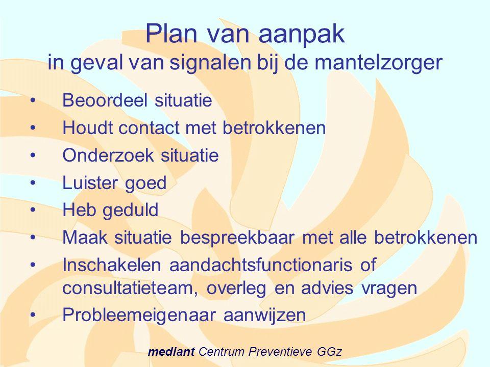 Plan van aanpak in geval van signalen bij de mantelzorger