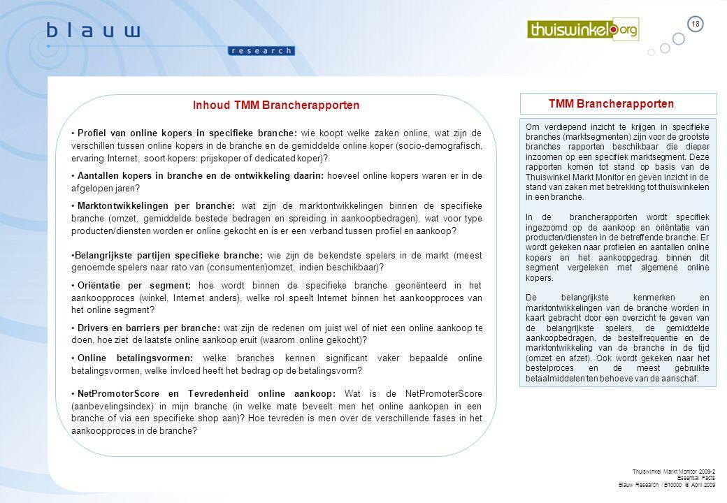 Inhoud TMM Brancherapporten