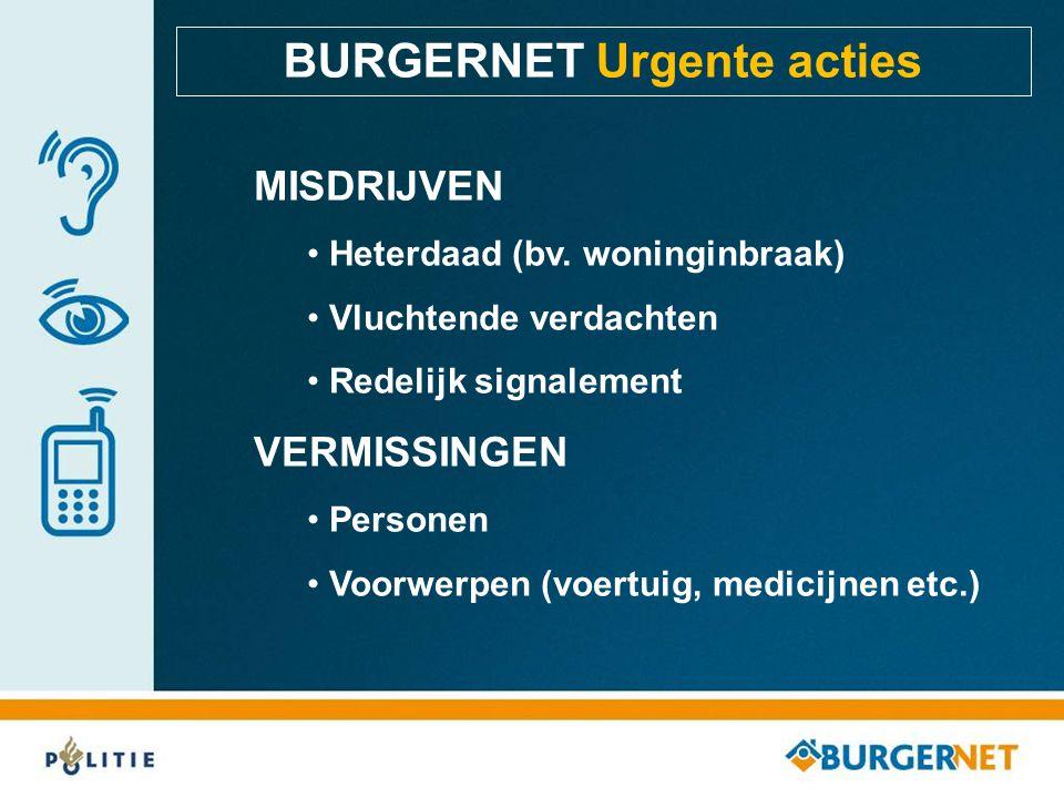 BURGERNET Urgente acties