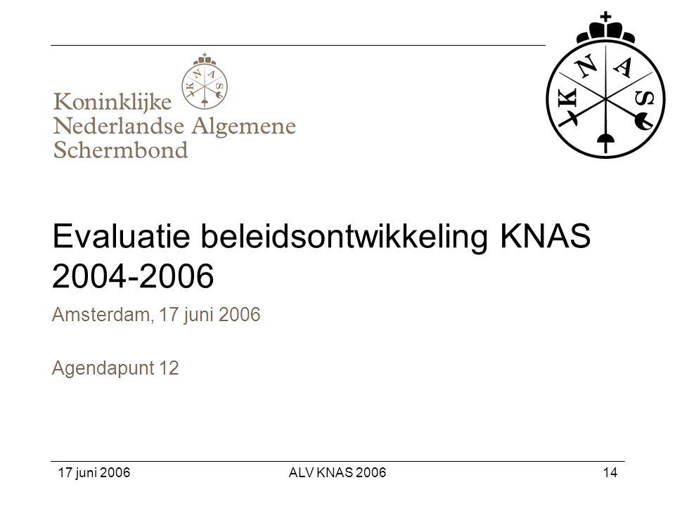 Evaluatie beleidsontwikkeling KNAS 2004-2006