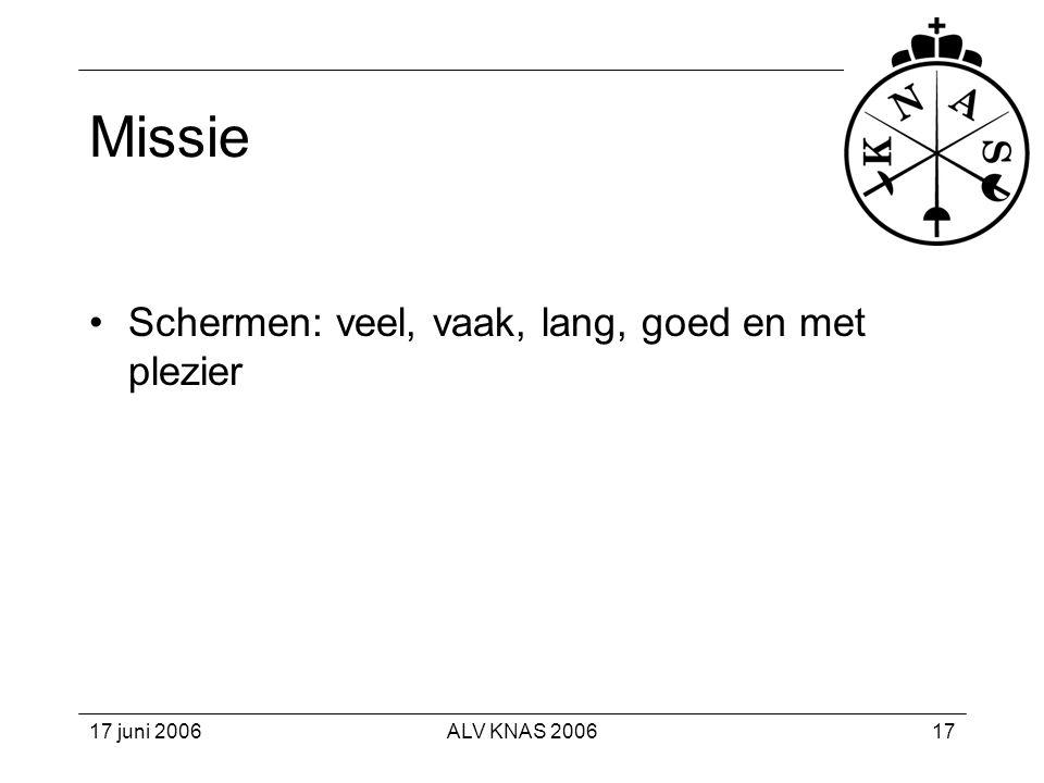 Missie Schermen: veel, vaak, lang, goed en met plezier 17 juni 2006