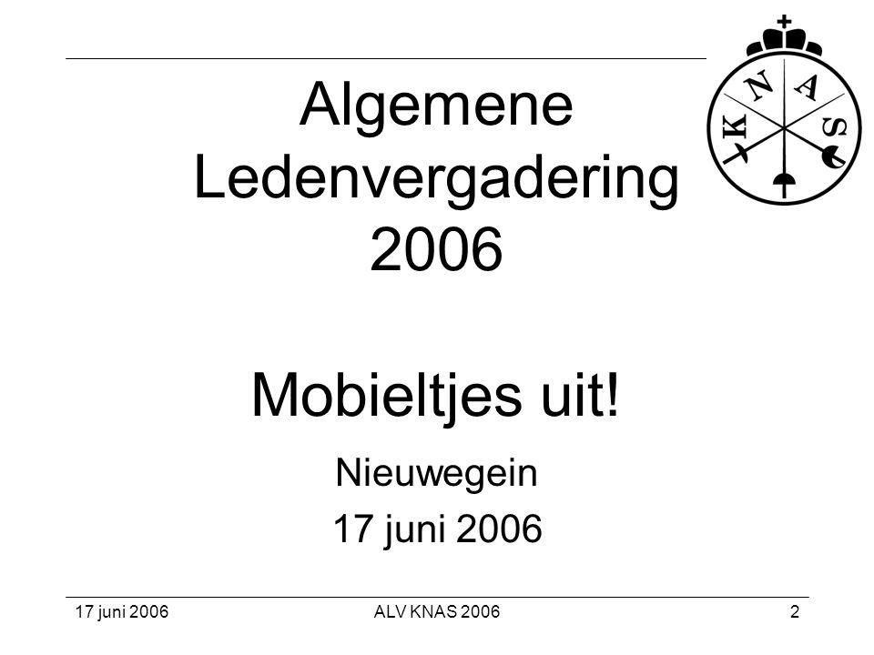 Algemene Ledenvergadering 2006 Mobieltjes uit!