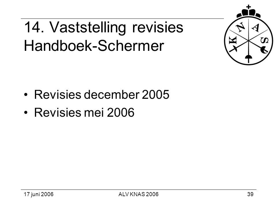 14. Vaststelling revisies Handboek-Schermer
