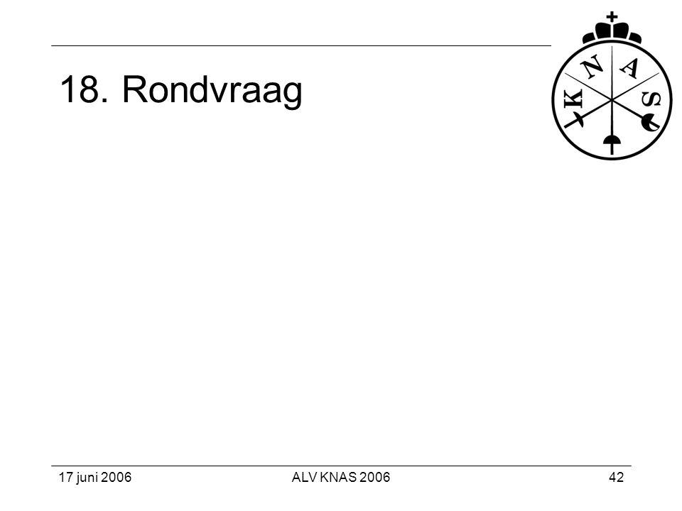 18. Rondvraag 17 juni 2006 ALV KNAS 2006