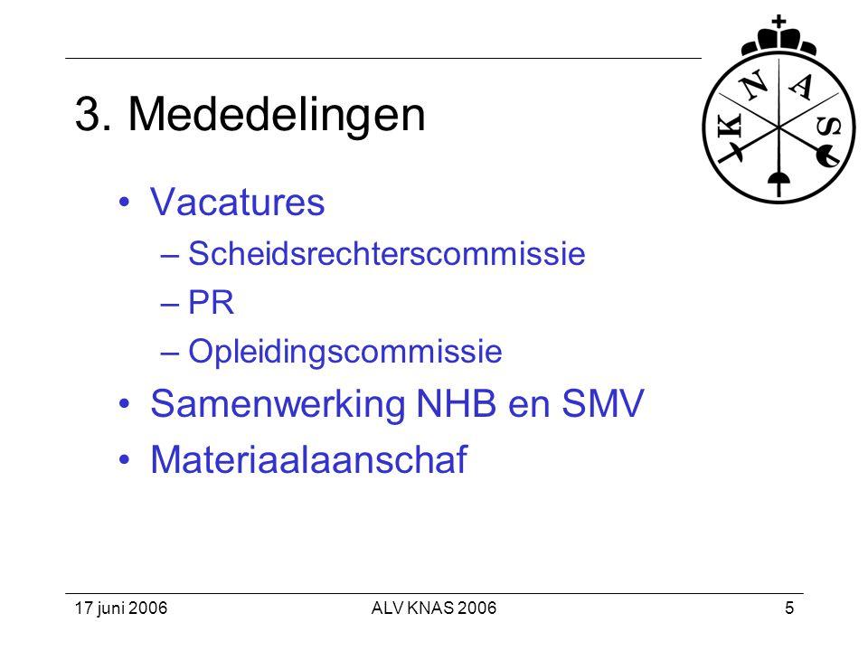 3. Mededelingen Vacatures Samenwerking NHB en SMV Materiaalaanschaf