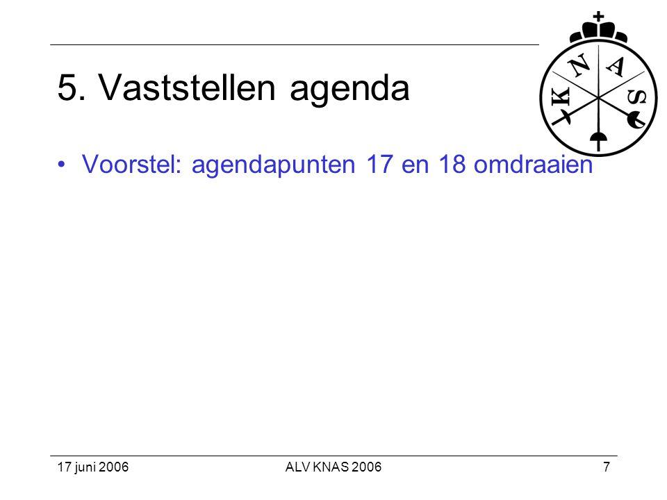 5. Vaststellen agenda Voorstel: agendapunten 17 en 18 omdraaien