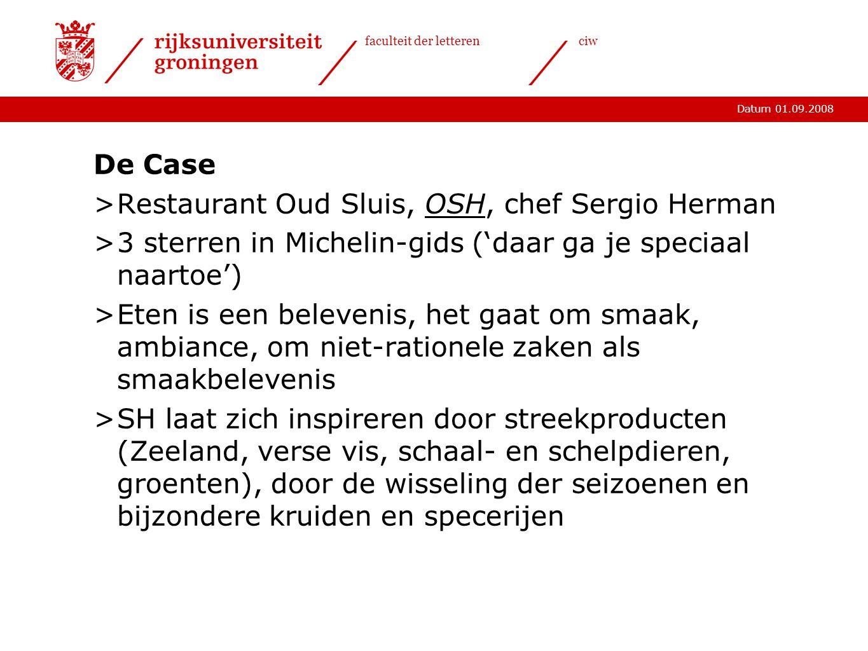 De Case Restaurant Oud Sluis, OSH, chef Sergio Herman. 3 sterren in Michelin-gids ('daar ga je speciaal naartoe')
