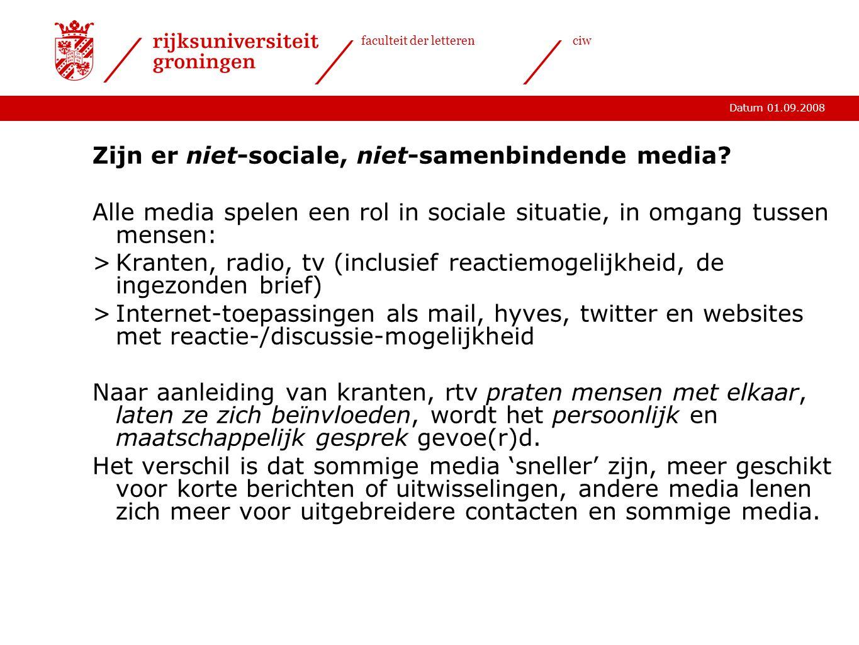 Zijn er niet-sociale, niet-samenbindende media