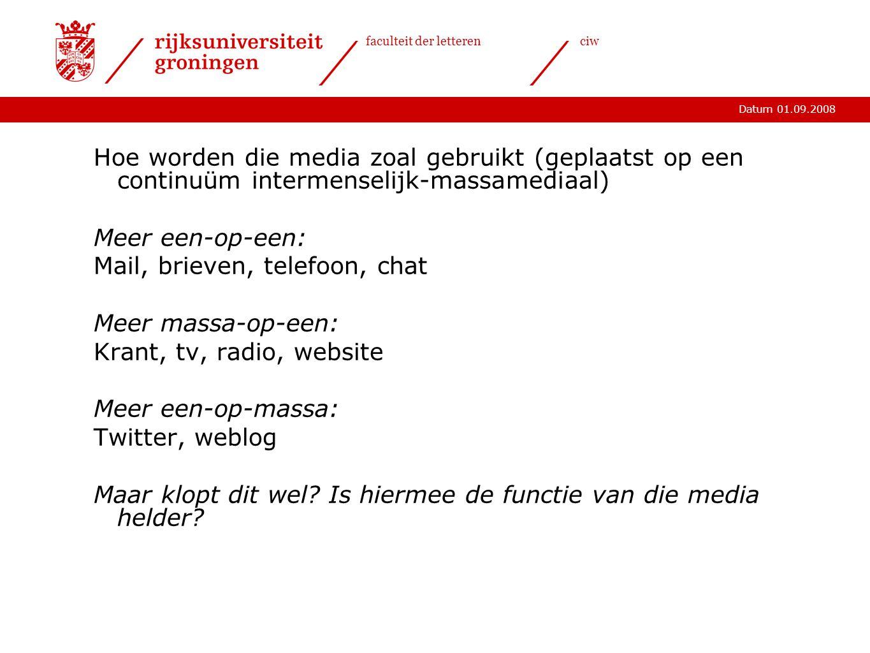 Hoe worden die media zoal gebruikt (geplaatst op een continuüm intermenselijk-massamediaal)