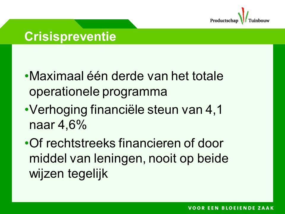 Crisispreventie Maximaal één derde van het totale operationele programma. Verhoging financiële steun van 4,1 naar 4,6%