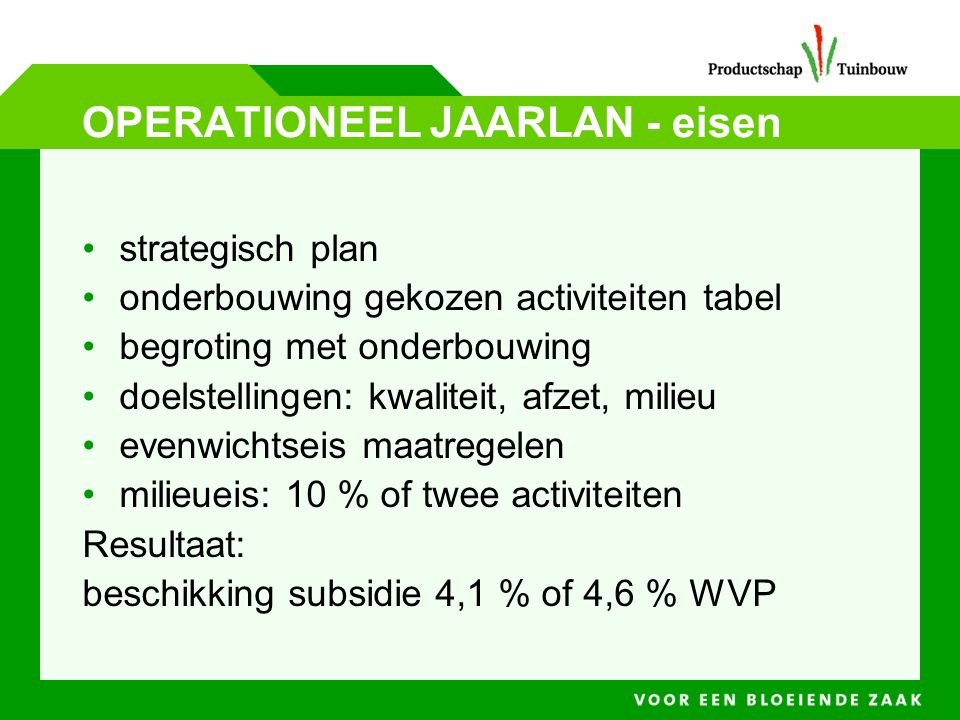 OPERATIONEEL JAARLAN - eisen