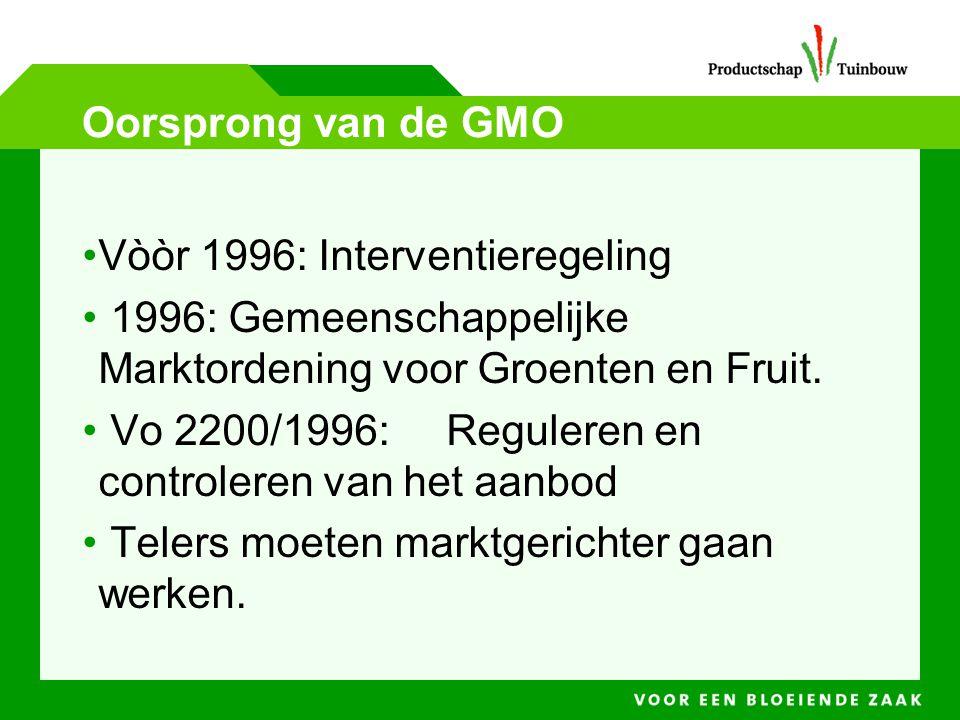 Oorsprong van de GMO Vòòr 1996: Interventieregeling. 1996: Gemeenschappelijke Marktordening voor Groenten en Fruit.