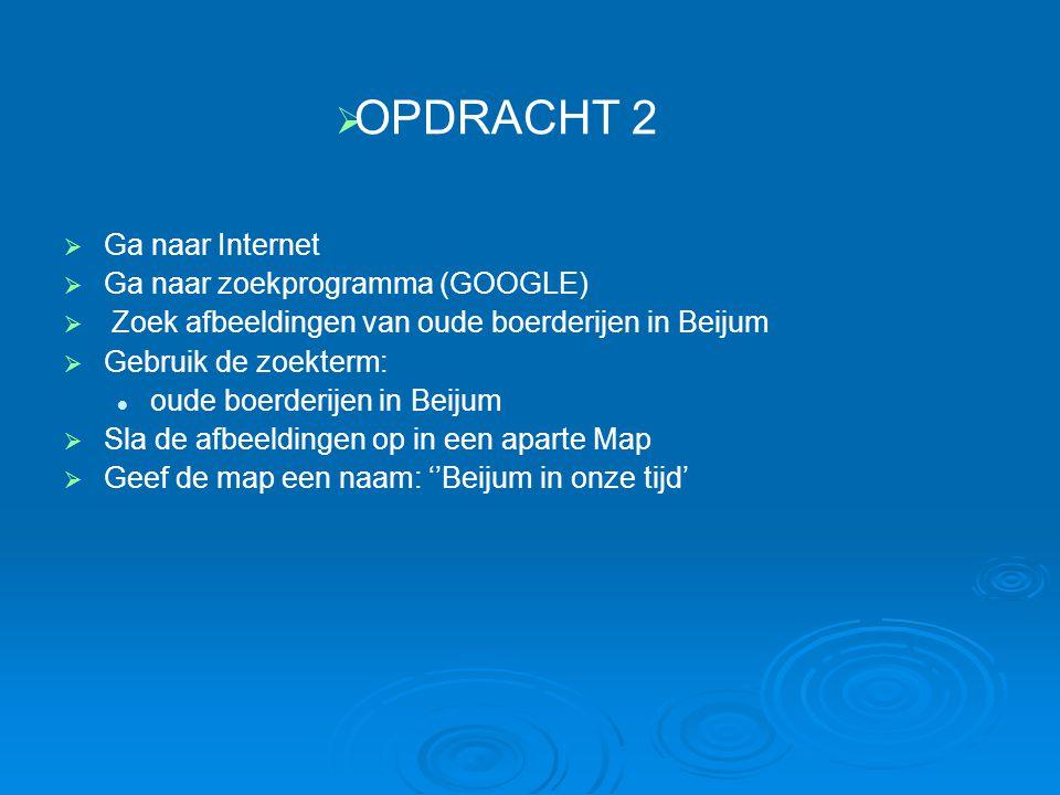 OPDRACHT 2 Ga naar Internet Ga naar zoekprogramma (GOOGLE)