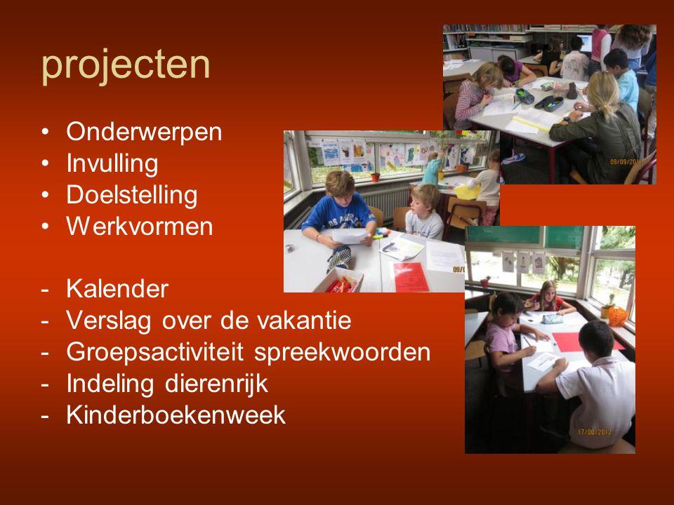 projecten Onderwerpen Invulling Doelstelling Werkvormen Kalender