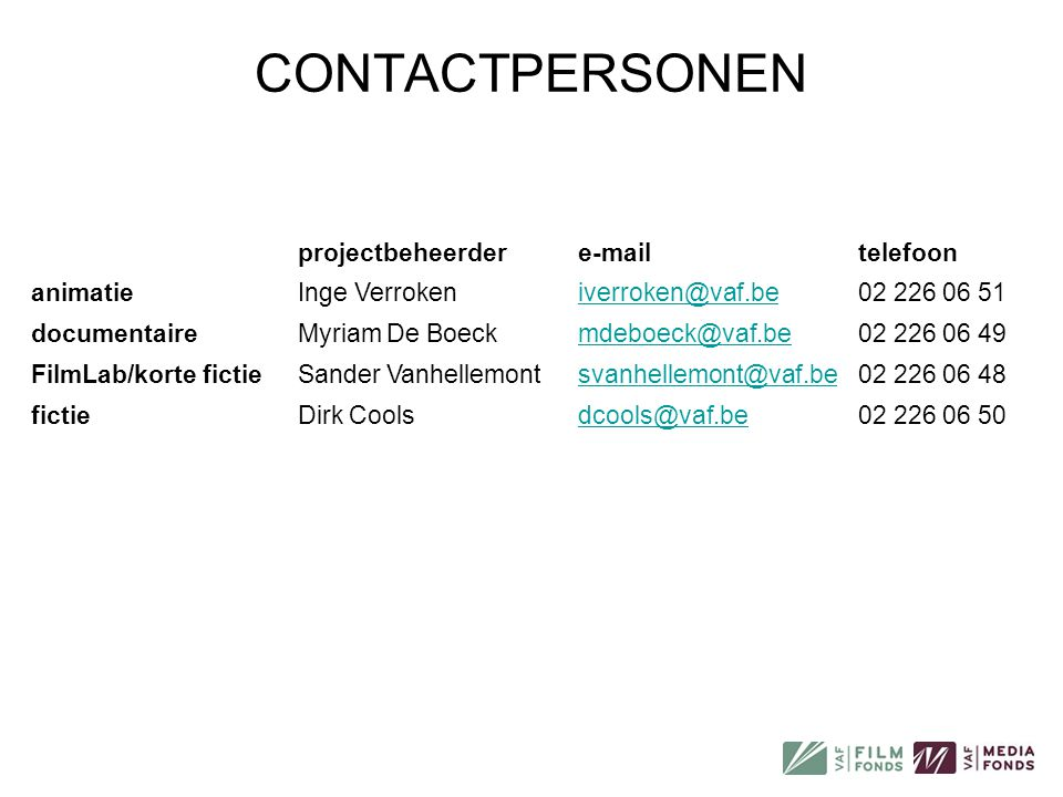CONTACTPERSONEN projectbeheerder e-mail telefoon animatie