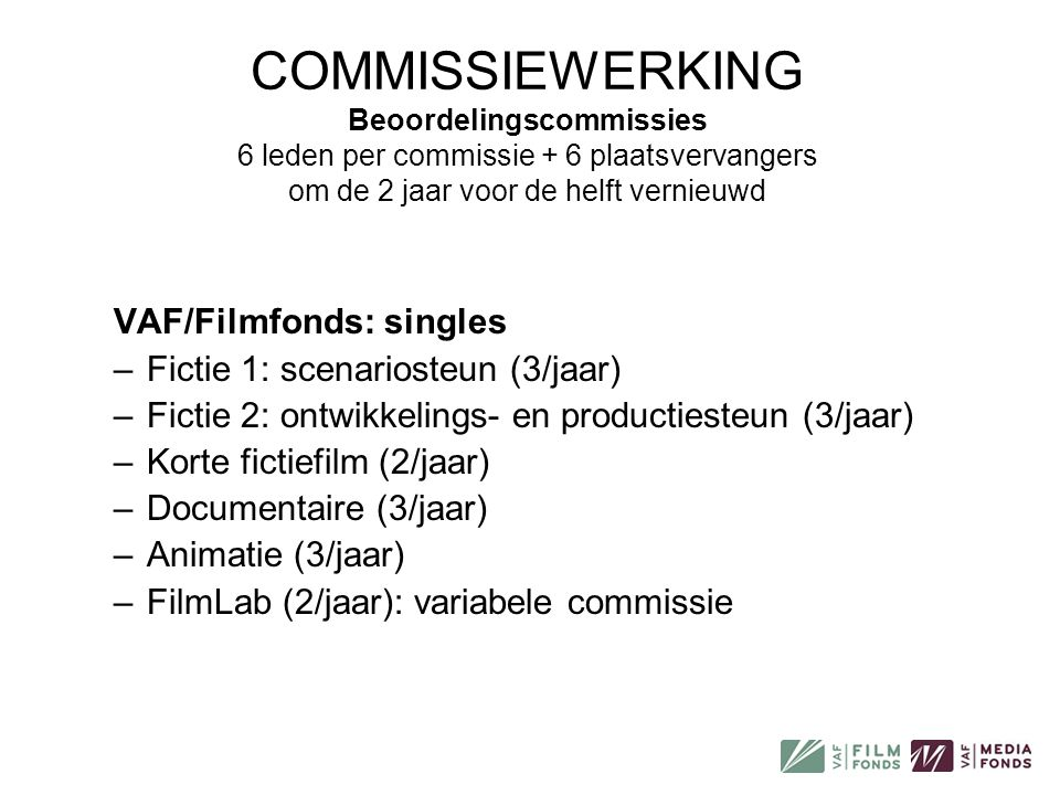 COMMISSIEWERKING Beoordelingscommissies 6 leden per commissie + 6 plaatsvervangers om de 2 jaar voor de helft vernieuwd