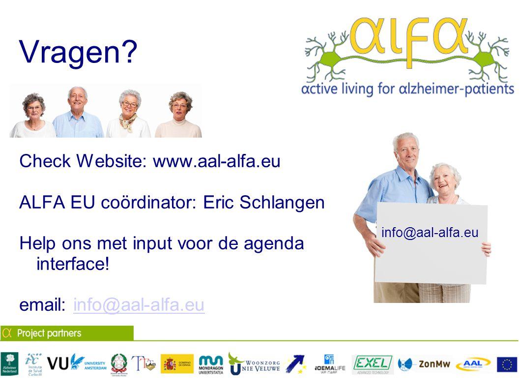 Vragen Check Website: www.aal-alfa.eu