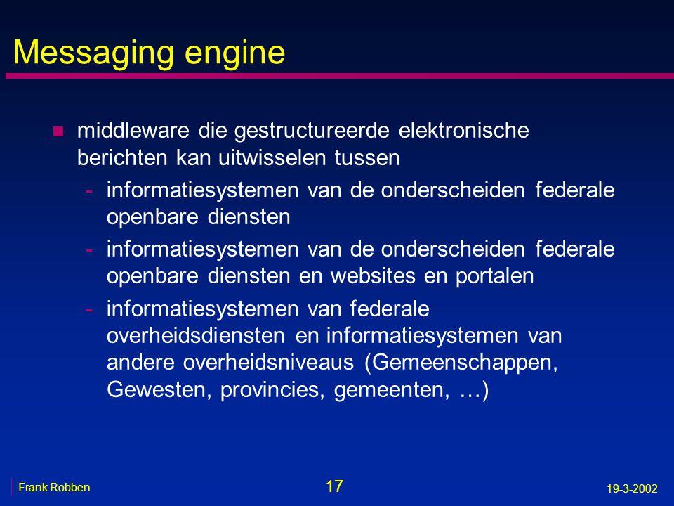Messaging engine middleware die gestructureerde elektronische berichten kan uitwisselen tussen.