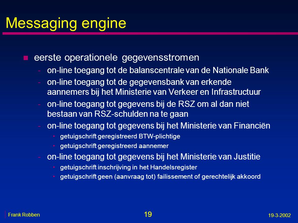 Messaging engine eerste operationele gegevensstromen