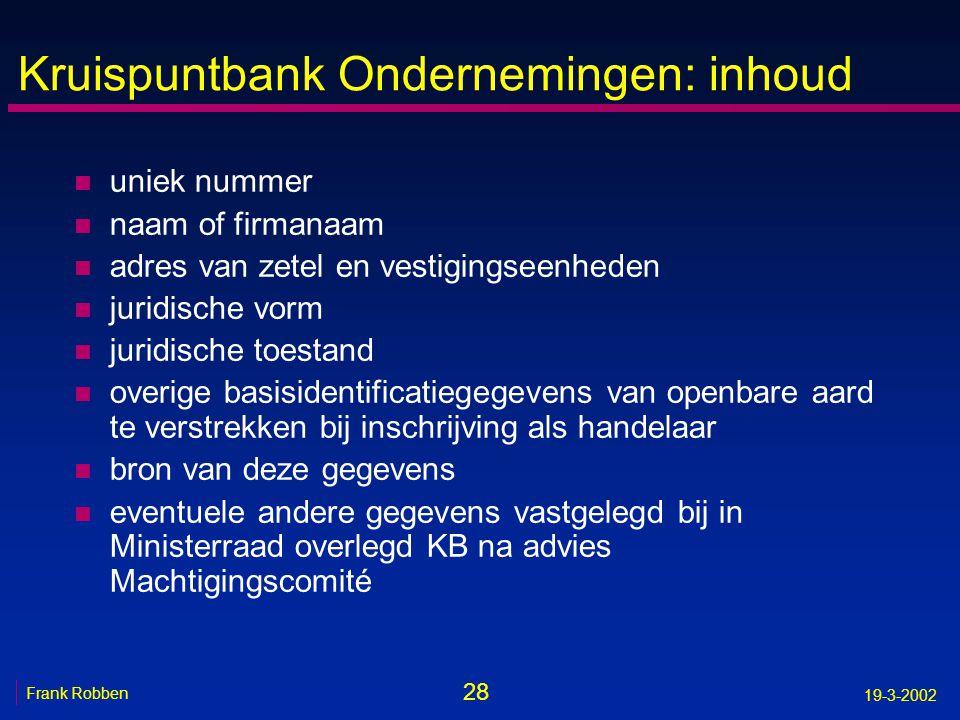 Kruispuntbank Ondernemingen: inhoud