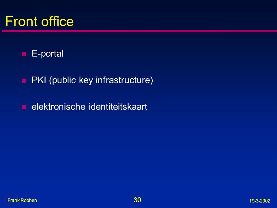 Front office E-portal PKI (public key infrastructure)