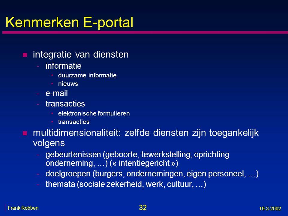 Kenmerken E-portal integratie van diensten