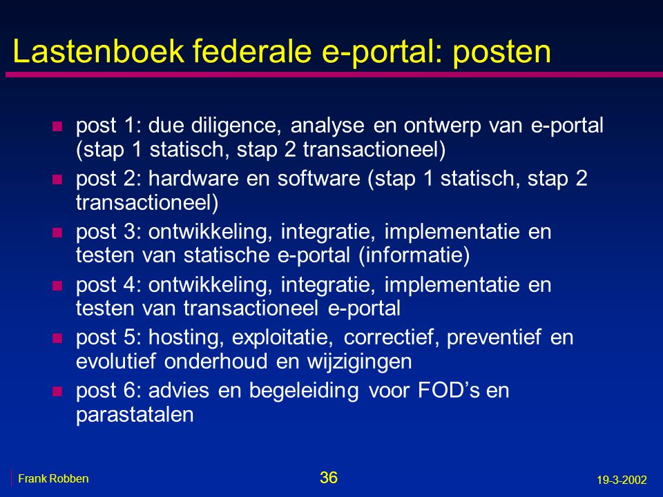 Lastenboek federale e-portal: posten