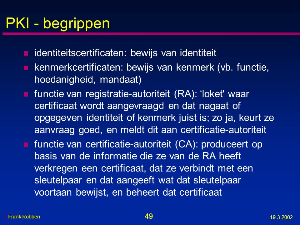 PKI - begrippen identiteitscertificaten: bewijs van identiteit