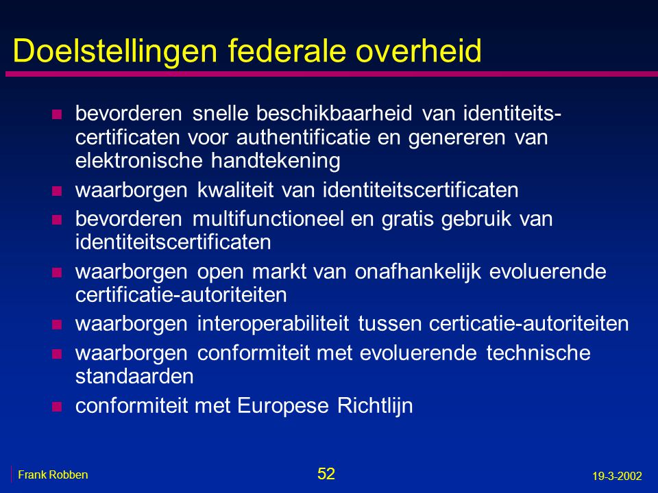 Doelstellingen federale overheid