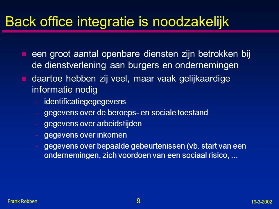 Back office integratie is noodzakelijk