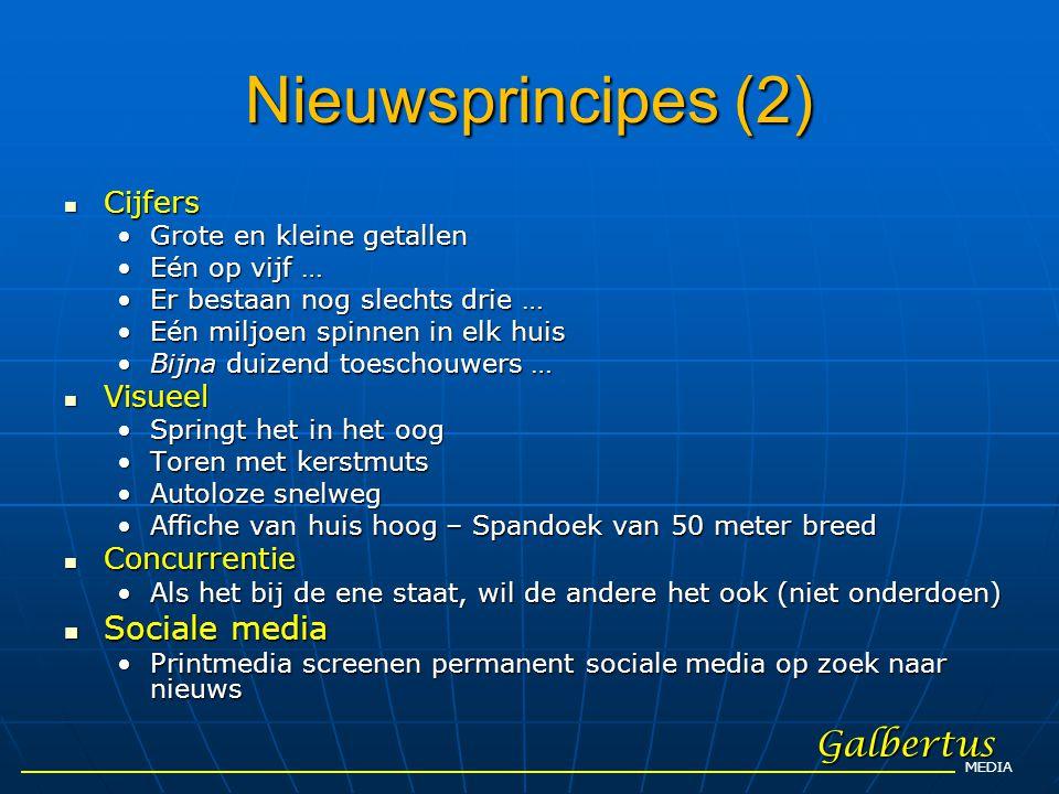 Nieuwsprincipes (2) Galbertus Sociale media Cijfers Visueel