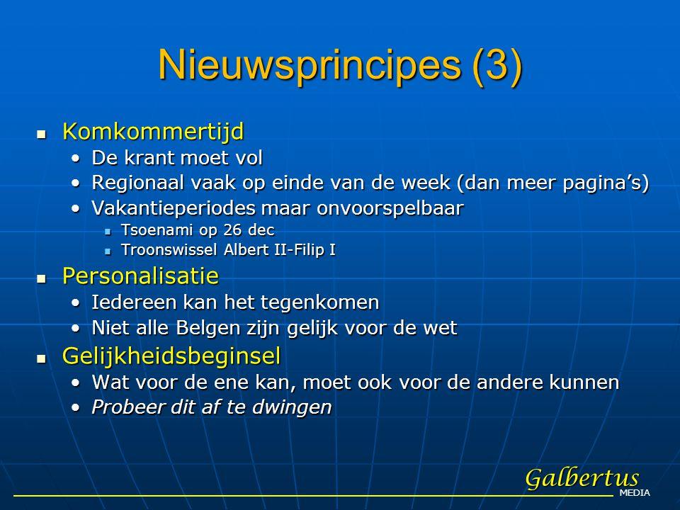 Nieuwsprincipes (3) Komkommertijd Personalisatie Gelijkheidsbeginsel