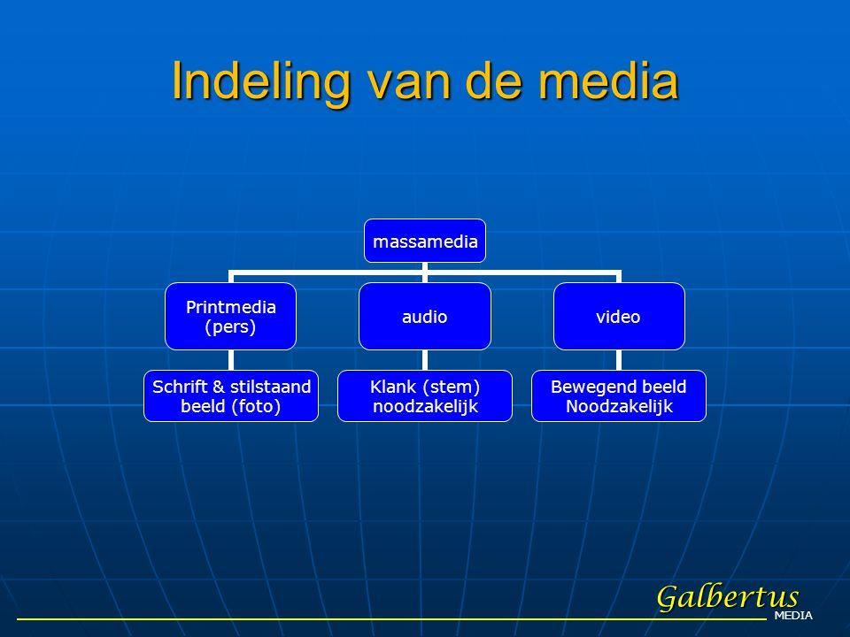 Indeling van de media Galbertus MEDIA