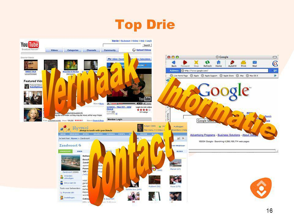 Vermaak Informatie Contact Top Drie 16