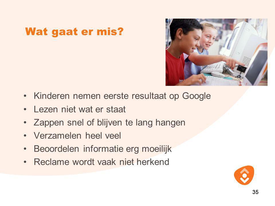 Wat gaat er mis Kinderen nemen eerste resultaat op Google