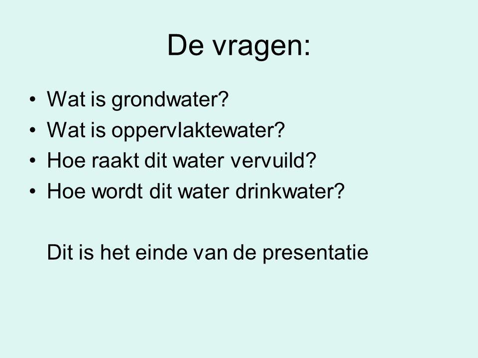 De vragen: Wat is grondwater Wat is oppervlaktewater