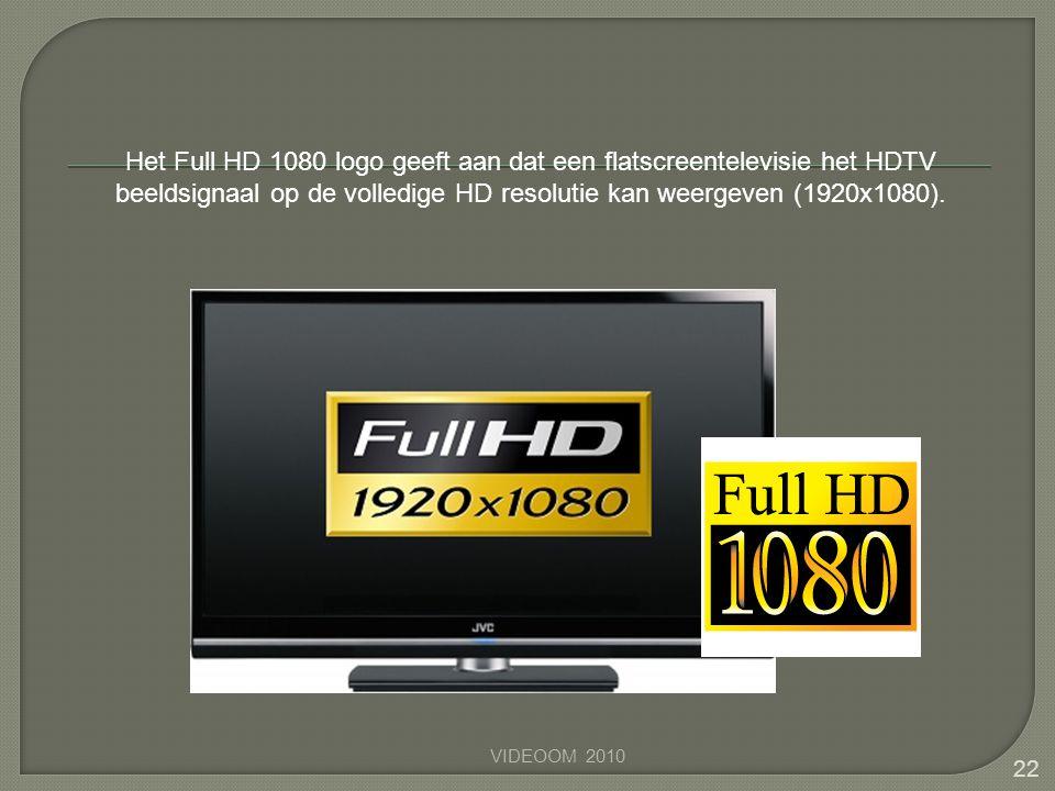 Het Full HD 1080 logo geeft aan dat een flatscreentelevisie het HDTV beeldsignaal op de volledige HD resolutie kan weergeven (1920x1080).
