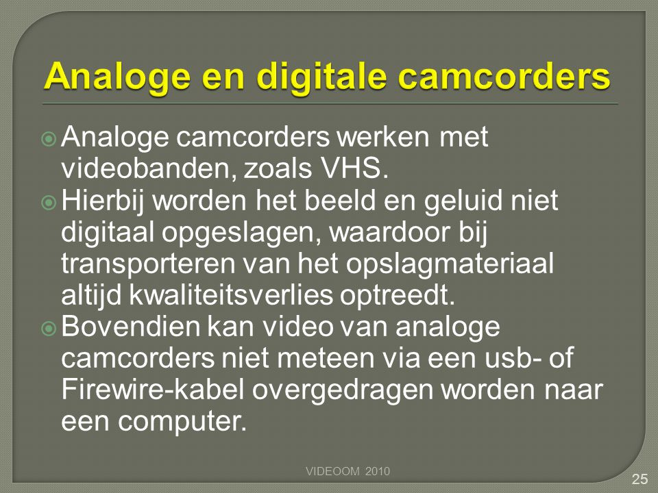 Analoge en digitale camcorders