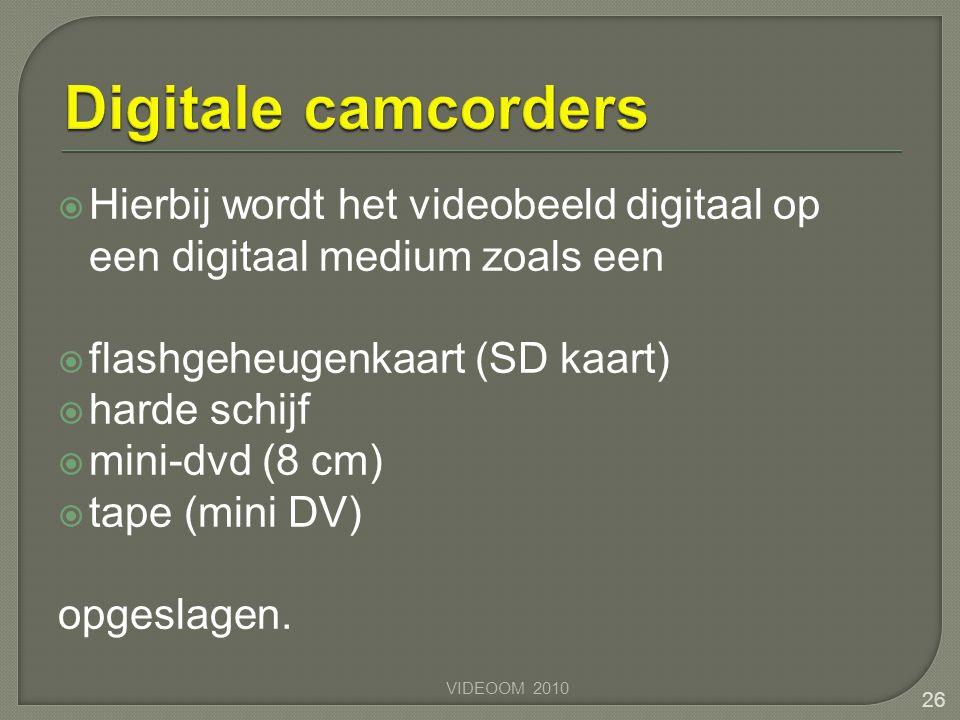 Digitale camcorders Hierbij wordt het videobeeld digitaal op een digitaal medium zoals een. flashgeheugenkaart (SD kaart)