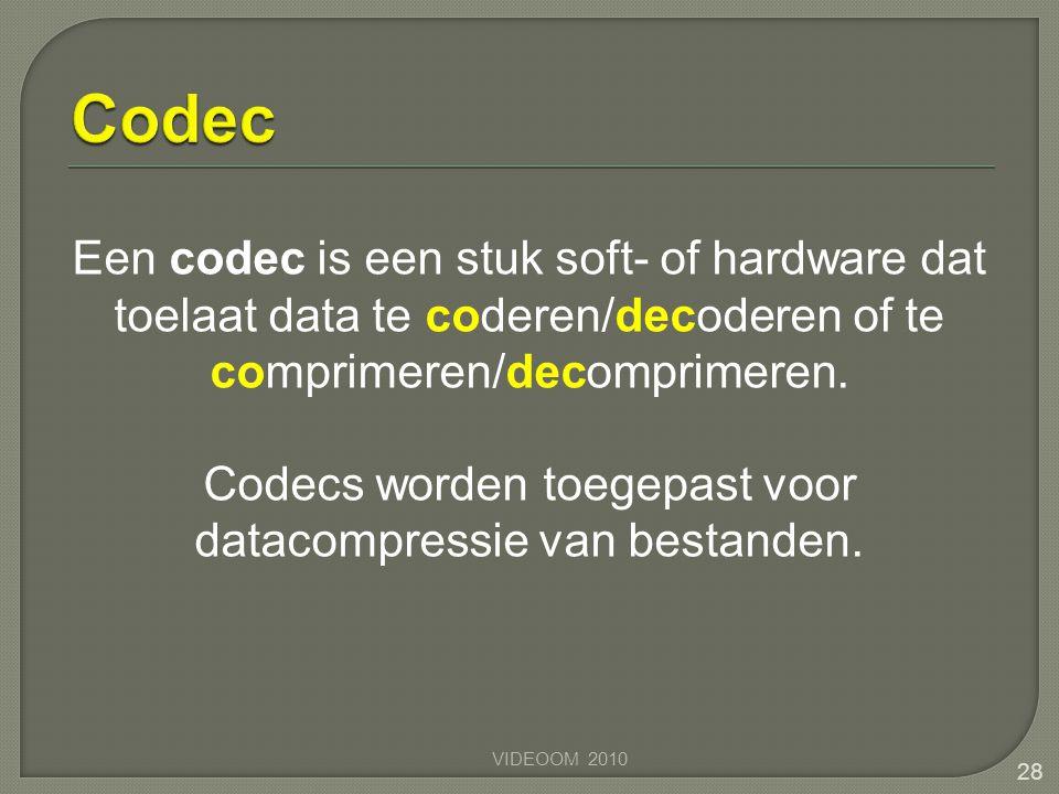 Codecs worden toegepast voor datacompressie van bestanden.