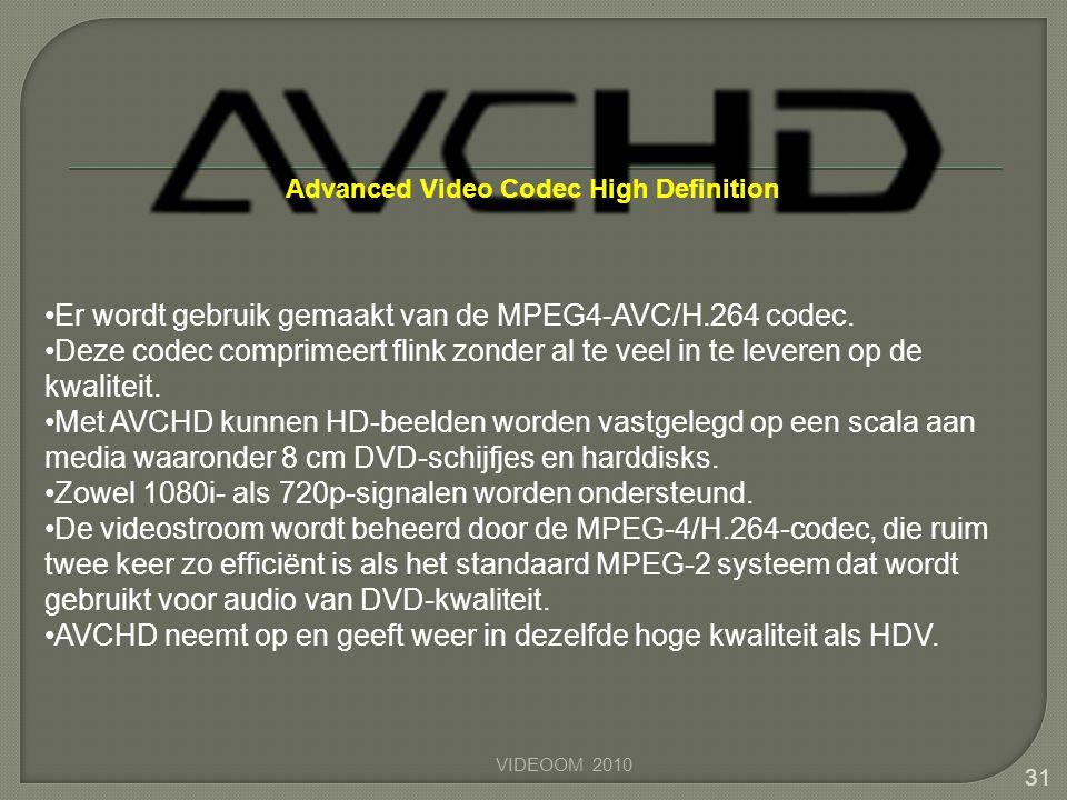 Er wordt gebruik gemaakt van de MPEG4-AVC/H.264 codec.