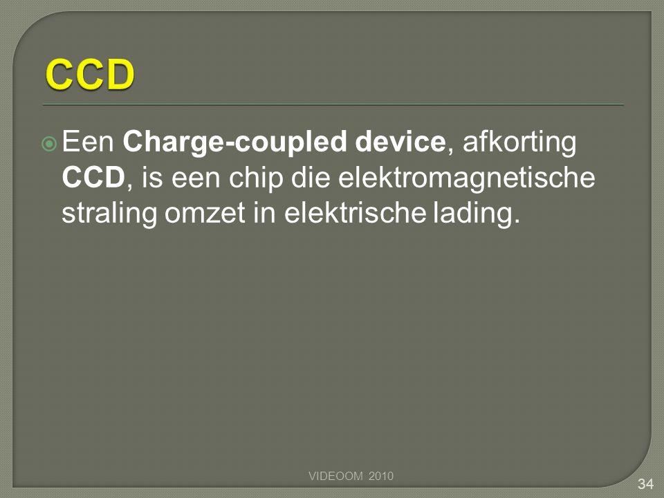 CCD Een Charge-coupled device, afkorting CCD, is een chip die elektromagnetische straling omzet in elektrische lading.