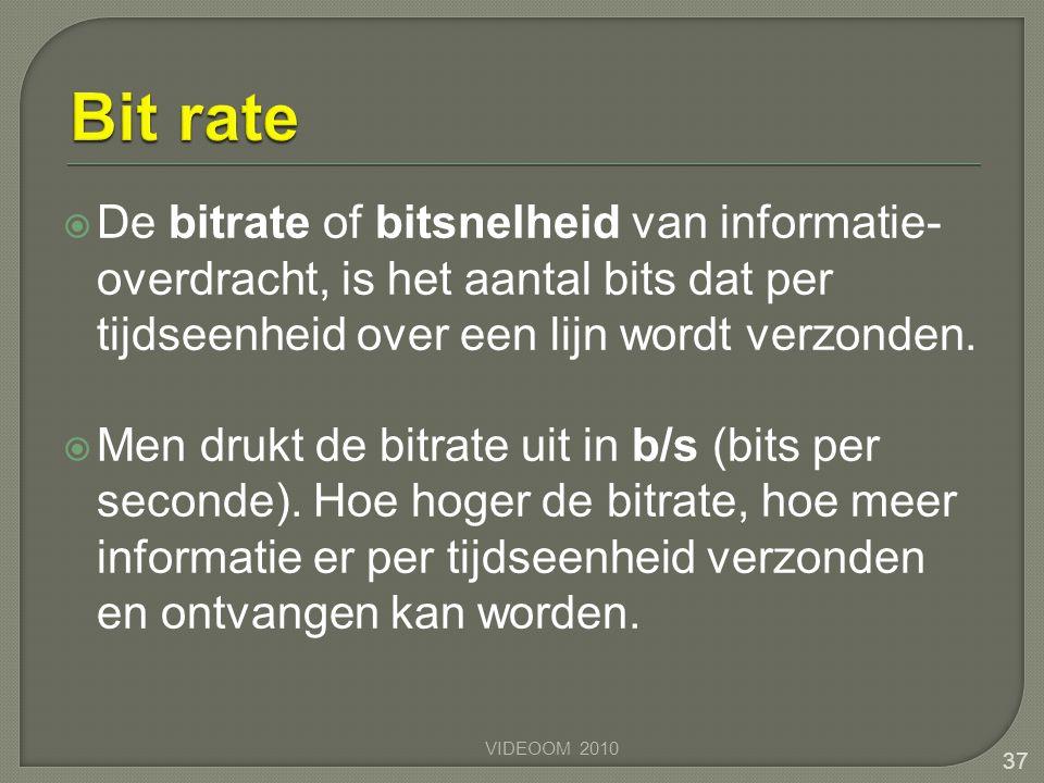 Bit rate De bitrate of bitsnelheid van informatie-overdracht, is het aantal bits dat per tijdseenheid over een lijn wordt verzonden.