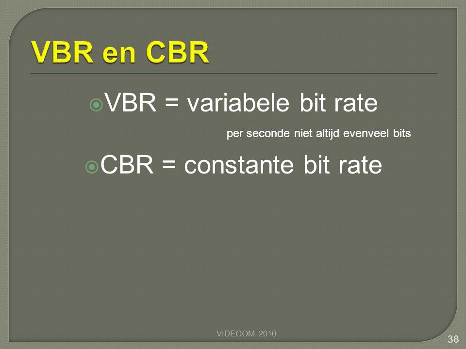 VBR en CBR VBR = variabele bit rate CBR = constante bit rate