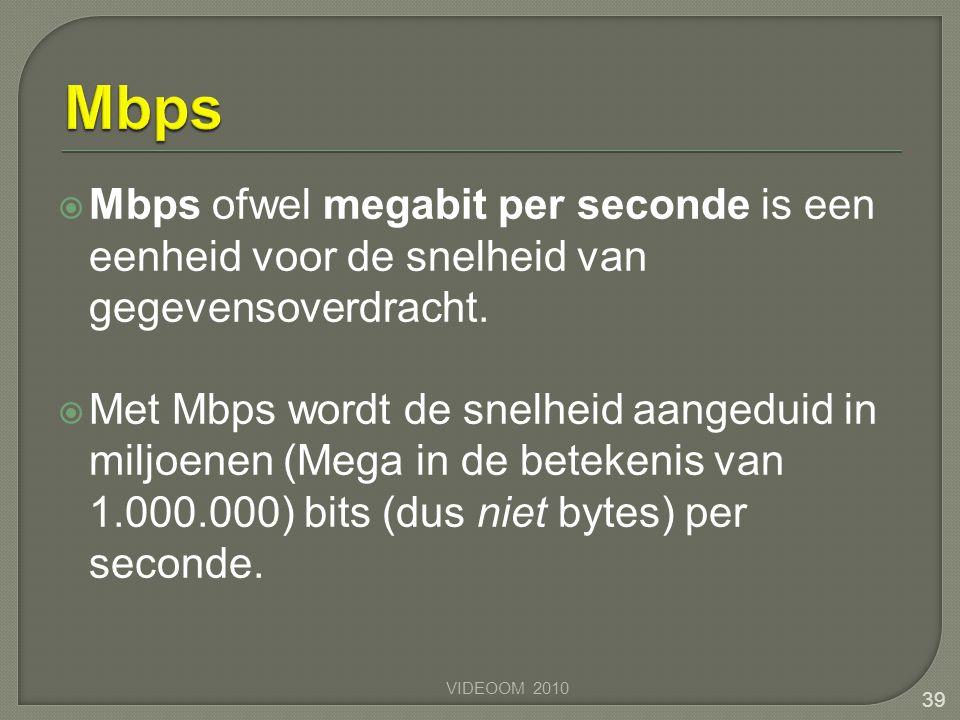 Mbps Mbps ofwel megabit per seconde is een eenheid voor de snelheid van gegevensoverdracht.