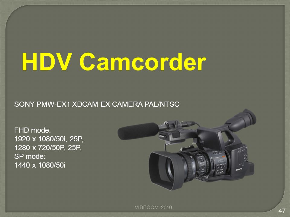 HDV Camcorder SONY PMW-EX1 XDCAM EX CAMERA PAL/NTSC FHD mode: